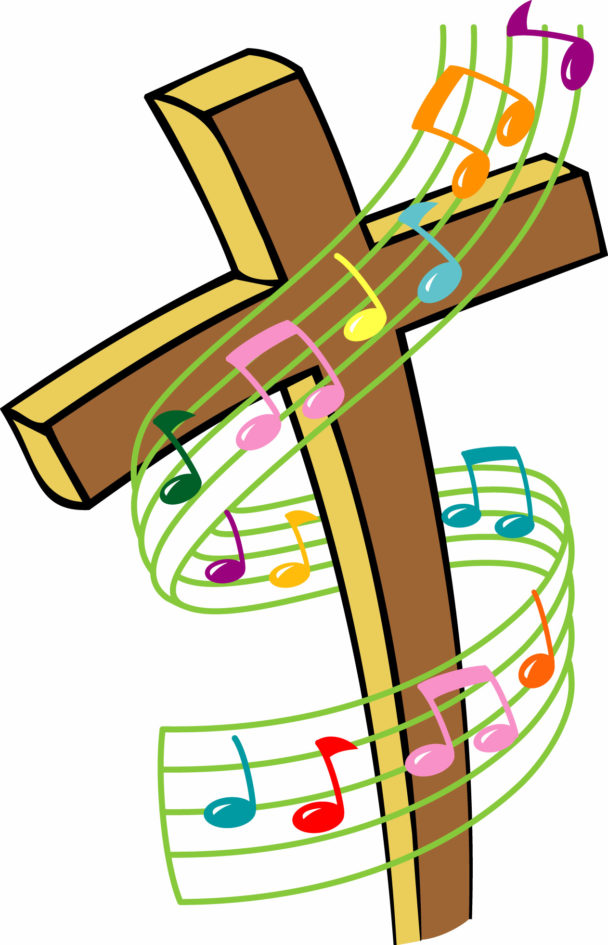 rainbow colored musical staff loosly wound around a cross