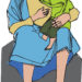 child sitting on the knee of jesus with text welcome