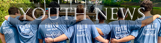 text Youth News superimposed over picture of youth in a row with backs facing camera in matching t-shirts