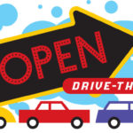 open on giant black arrow drive thru above 3 cars bumper to bumper